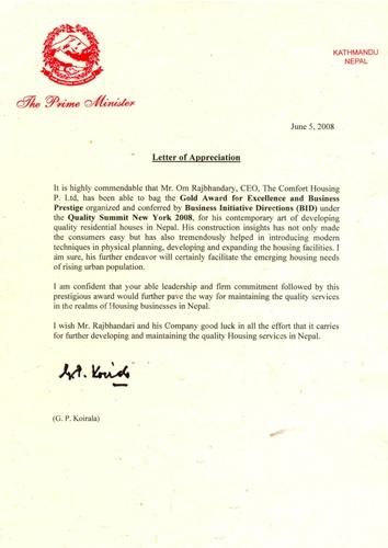 Letter of Appreciation June 5, 2008